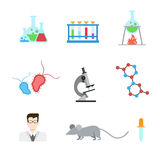 Flat vector laboratory research experiment web app icon: DNA Lab Royalty Free Stock Image