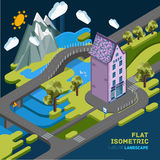 Flat vector landscape isometric concept Royalty Free Stock Photos