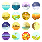 Flat vector landscapes icons set. Stock Photography