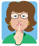 Flat Vector Librarian. Stern cartoon librarian gesturing for silence stock illustration