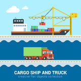 Flat vector logistic transport: truck and cargo ship, delivery Stock Photo