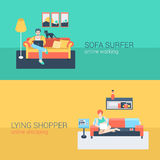 Flat vector man and women at home interior with laptop, tablet Royalty Free Stock Photos