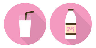 Flat vector milk glass and milk bottle. Flat vector illustration set: milk glass and milk bottle on pink backdrops Royalty Free Stock Photo