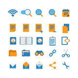 Flat vector mobile web app interface icon: wi-fi zoom cut link Royalty Free Stock Photo