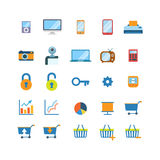 Flat vector mobile website app icons: shopping cart phone tablet. Flat style creative modern mobile web app interface concept icon set. Music player smart phone Stock Images