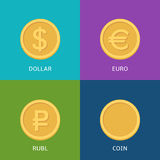 Flat vector money icons. Vector set of flat coins on colorfull background Stock Photos