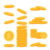 Flat vector money icons. Vector set of flat coins on colorfull background Stock Image