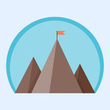 Flat vector mountain peak with flag Stock Photos