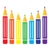 Flat vector multicolored colorful paint pencils Royalty Free Stock Photo