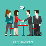 Flat vector negotiation handshake - success in business meeting Stock Photos