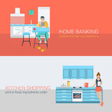 Flat vector online activity: in home interior, people in kitchen. Flat style set people sofa leisure kitchen relax online activity. Sitting man laptop online Royalty Free Stock Photography