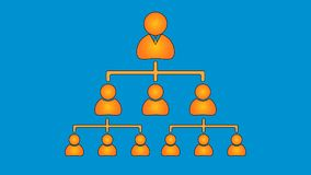 Orange on blue, organisation structure chart royalty free illustration