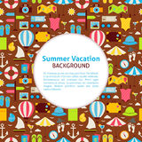 Flat Vector Pattern Summer Vacation Background Stock Photos