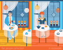 Flat vector people in cafe or restaurant Stock Photography