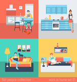 Flat vector people at home interior in kitchen, living room sofa Royalty Free Stock Photography