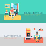 Flat vector people at home interior with laptop, tablet, relax Stock Images