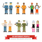 Flat vector people: police prisoner gangsta hooker robber army Stock Photography