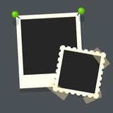Flat vector photo frames on transparency duct tape.. Isolated flat vector icon of retro photo frame. Template photo design.Vector illustration in simple style Royalty Free Stock Photos