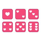 Flat, pink heart six sided dice set vector illustration