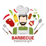 Flat vector professional cook: restaurant barbecue grill icon Royalty Free Stock Image