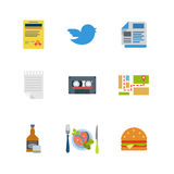 Flat vector restaurant tweet audio map whiskey burger web icons Stock Image