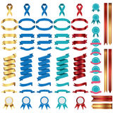 Flat vector ribbons banners flat isolated on white background, Illustration set Stock Photo