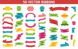 Flat vector ribbons banners flat isolated on white background, Illustration Set of 50 ribbons. Flat vector ribbons banners flat isolated on white background Stock Images