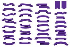 Flat vector ribbons banners ultra violet color. Trendy color 2018 year Ultra Violet. Vector ribbons for your design. Flat vector ribbons banners ultra violet Royalty Free Stock Photography