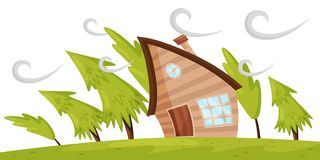 Flat vector scene with house and fir trees blowing away by strong wind. Powerful windstorm. Natural disaster royalty free illustration