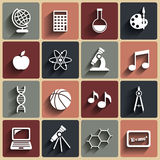 Flat vector school icons set. With shadows Royalty Free Stock Image