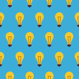 Flat Vector Seamless Pattern Creativity Idea Lamp Stock Photography