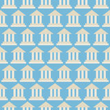 Flat Vector Seamless Pattern Government School Bank Building Stock Photos