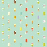 Flat vector seamless pattern with ice creams. Stock Photo