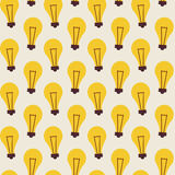 Flat Vector Seamless Pattern with Light Bulbs Stock Images