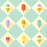 Flat vector seamless pattern with popsicles. Royalty Free Stock Photography