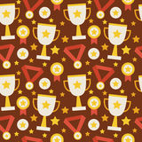 Flat Vector Seamless Pattern Sport Competition Trophy Winning wi. Th Medal. Flat Style Texture Background. Sports and Recreation. First Place. Award with Star Stock Photo