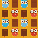 Flat Vector Seamless Pattern Wisdom and Knowledge Owls with Book Stock Image