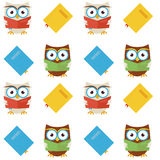 Flat Vector Seamless Pattern Wisdom and Knowledge Owls Reading B Stock Photos