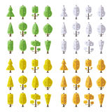 Flat vector seasonal trees set in flat style Royalty Free Stock Photos