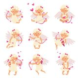 Flat vector set of adorable cupid in different actions. Angel of love. Cartoon little girl with wings, bow and arrows. Set of adorable cupid in different actions vector illustration