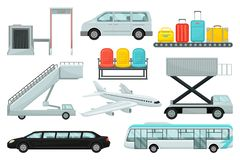 Flat vector set of airport elements. Transport, boarding stairs, carousel with suitcases, chairs, airplane and security royalty free illustration