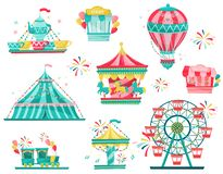 Flat vector set of amusement park equipment. Carnival carousels, ticket booth and ice-cream stall. Entertainment theme. Set of amusement park equipment. Carnival royalty free illustration