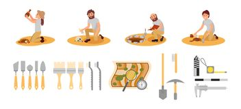 Flat vector set of archaeologists and tools. People working on excavations. Measuring devices, map with magnifying glass royalty free illustration