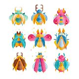 Flat vector set of beetles with bright wings, horns and paws. Colorful flying insects. Flaticons with gradients and. Collection of various beetles with bright Royalty Free Stock Photography