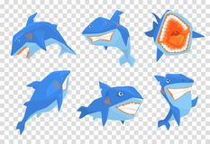 Flat vector set of big blue shark. Marine fish with sharp teeth and large fin on back. Elements for stickers or mobile. Set of big blue shark. Marine fish with Royalty Free Stock Photo