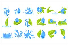 Flat vector set of blue drops and splashes with green leaves. Elements for logo, promo poster or label of bottle with. Collection of different blue drops and Stock Photos