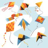 Flat vector set of bright-colored kites. Flying toys for children activities and play. Sky and wind, hobby and Stock Photography