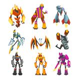 Flat vector set of bright-colored transformer robots. Futuristic monsters with metal body. Strong cyborgs. Fantasy vector illustration