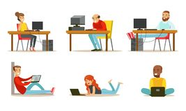 Flat vector set of cartoon peoples with laptops and computers. Men and women working in internet, playing video games or. Set of cartoon peoples with laptops and vector illustration