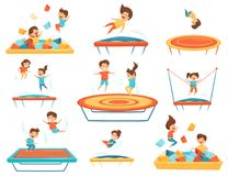 Flat vector set of children jumping on trampolines and playing in pool with soft paralon cubes. Kids leisure. Set of children jumping on trampolines and playing vector illustration